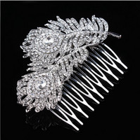 Wholesale Vintage Bridal Hair Comb Feather - 3.3 Inch Extra Large Vintage Look Rhodium Silver Tone Double Feather Bridal Hair Comb with Rhinestone Crystals
