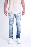 Wholesale White Ripped Leggings - Men's Jeans Designer Pants Snow White Blue Destroyed Zipper Slim Denim Biker Skinny Jeans Ripped Leggings Clothing