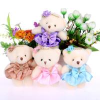 Wholesale Flowers Teddy Bears - NEW 12CM 10pcs lot pp cotton kid toys plush doll mini small teddy bear flower bouquets bear for wedding