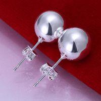 Wholesale Dangle Cross Stud Earrings - Brand new sterling silver '10M beads earrings DFMSE074,women's 925 silver Dangle Chandelier earrings 10 pairs a lot