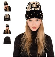 Wholesale Crochet Unique Fashion - 2015 New Style Women Leopard Crochet Caps Fashion Winter Warm Beanie Caps Punk Rivet Knitted Cotton Skull Hats Female Girls Unique Caps