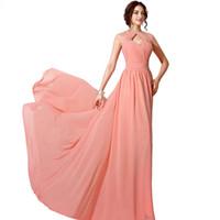 Wholesale Sexy Stockings Holes - 2016 In Stock Cheap Prom Dress Key Hole Back Crystal Beaded Chiffon Prom Dresses Cheap Sexy Pink Party Dresses Free Shipping