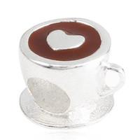 Wholesale Drink Bead - Metal slide big hole Rhodium Plating Enamel heart love chocolate coffee cup drink European bead Charm Fit Pandora European Charm Bracelet