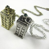 Wholesale Police Box Necklace - Doctor Who 3D Police Box Pendant necklaces with Long Chain 2 colors vintage style good gifts for kids free shipping