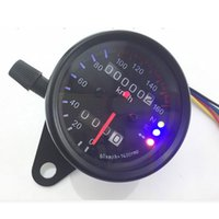 Wholesale Motorcycle Instrument Led - DC 12V Motorcycle Retro Modification Universal Odometer Instrument Dual LED Backlight Night Readable Speedometer Gauge Panel