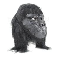 Wholesale Halloween Gorilla Mask - Black star star Rubber Latex Gorillas Mask For Halloween Holiday Party Mokey Maske Dragon Ball Toy Eating Banana Terror Gifts