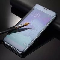 Wholesale Note Flip Retail - For Samsung Galaxy Note 5 Wake Sleep Clear View Smart Cover Mirror Wallet Flip PU Leather Case For S6 Edge Plus S7 S7 Edge Retail Package