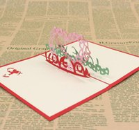 Wholesale Card Love Kirigami - 10pcs I LOVE YOU Heart Handmade Kirigami Origami 3D Pop UP Greeting Cards Invitation Postcard For Birthday Wedding Party Gift
