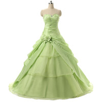 Wholesale Cheap Modern Flower Girl Dresses - Eye-Catching Light Green Sweet 16 15 Girls Birthday Party Prom Ball Gowns With Ruffles Beaded Debutante Cheap Quinceanera Dresses In Stock