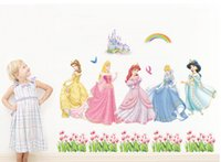 Wholesale Rainbow Wall Stickers Kids - Snow White Wall Stickers Waterproof Girls Room Princess Room Décor Wall Decals Poster Decor Art Kids Nursery Room Cartoon Sticker Rainbow