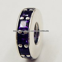 ingrosso perline europee di spacer viola-2015 autunno 925 Sterling Silver Eternity Spacer Charm Bead con ciondolo viola CZ Fit europeo stile bracciali bracciali collane ciondolo