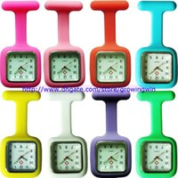 Wholesale Wholesale Medical Pins - 2015 unisex Silicone Jelly Candy Rubber nurse watch square dial doctor medical quartz FOB pocket watches with pin 12 colors 100pcs lot