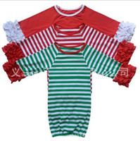 Wholesale baby boy gowns - 29colors Infant sleep cloth Baby girl boy Cotton Gowns Ruffle Gown Long Sleeve sleep bag for 0-2T Christmas red green stripe deer Xmas