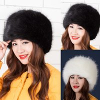 Barato Mulheres Do Cossack-Atacado - 2017 Mais nova moda feminina Faux Fox Fur Winter Warm Lady Women Soft Ski Hat Cossack Charm Beanies Caps Headgear feminino