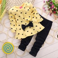 Wholesale Dots Cloth Shirt - New Baby Girl Clothing Set Heart-shaped Print Bow Cute 2PCS Cloth Set Children Cloth Suit Top T shirt + Pants High Quality