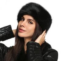 sahte kürk kafa bandı toptan satış-Toptan-Bayanlar Faux Kürk Şapka HeadBand Kış Kulak Isıtıcı Şapka Kayak Saç Band Başkanı Kulaklık