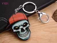Wholesale Skull Phone Accessories - Fashion Accessories Lobster Clasp Silicon Key Rings phone chain Skull toy for women men kids free shipping Party supplies 101