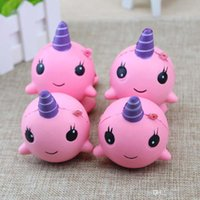 Wholesale Big Whales - Kawaii Cute Squishy Pink Whale Millie Cartoon Collectible Squeeze Elasticity Stretch Vent Bread Cake Kid Toy Gift