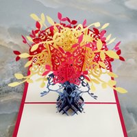 Wholesale Types Flower Pots - 3D Handmade Paper cut stereoscopic Greeting card Folding type Creative Joyous Potted flowers Chinese Ethnic Crafts cards Gifts