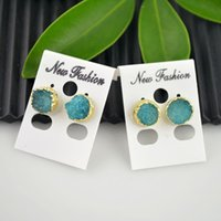 Finding- 5Pair Gold Plated Drzuzy Drusy Quartz Stone em Blue Color Stud Earrings