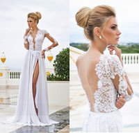 Abiti da sera con scollo a V larghezza Deep V-collo illusione maniche lunghe abiti da sposa A-line Backless Chiffon Floor Lunghezza Backless Dress Runway