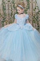 Wholesale Multi Color Tulle Ankle Dress - Ball Gown Flower Girl Dresses Cinderella Pageant Dress Ice Blue Lovely Tulle Appliques Beaded Sparkling Kids Dress High Quality 2015