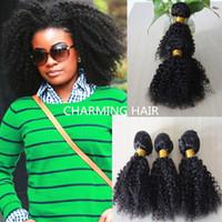 Wholesale Brazilian Afro Jerry - charming hair weaving curly brazilian afro kinky curly 3pcs bundles unprocessed jerry curl human virgin hair weave bohemian hair
