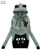 Wholesale Hoodies Cat Ears - Wholesale-New Fashion Korean Women's Girls Cute Zip Ear Hoodie Cat Long Hooded Sweatshirt Coat Outwear 5 Colors 22