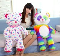 Wholesale Giant Plush Lovely Bear - Dorimytrader 24''   60cm Giant Fashion Plush Stuffed Lovely Heart and Rainbow Teddy Bear Toy 2 Models Kids Gift Free Shipping DY60430