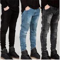 nouveau jean jaune pour homme achat en gros de-2018 nouveaux mens Biker Jeans moto Slim Fit Washed jaune noir gris bleu Moto Denim maigre pantalon élastique Joggers pour hommes