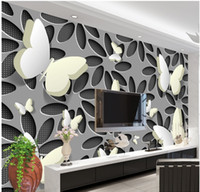 Бесплатная доставка 3D Stereo Butterfly Flower TV Backdrop Wall Painting Декоративное Cafe Bedroom Living Room Wallpaper Mural