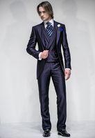 homens vestidos casamentos vestidos venda por atacado-casamento groomsmen ternos vestido de baile casaco azul smoking para casamentos noivo desgaste jantar homens terno brilhante