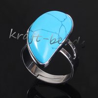 Wholesale Turquoise Water Beads Wholesale - wholesale 10pcs Silver Plated beautiful turquoise Beads Water Drop shape Adjustable Stone Finger Ring Jewelry