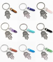 New Fashion Natural Crystal Antiguidade Símbolo Evil Eye Fatima Hand Pendant Chaveiro Purse Car Key Rings Holder Suporte FBA Drop Shipping D248S