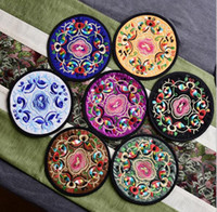 Wholesale Round Weave - Non-woven Embroidery Floral Pattern Ethnic Coaster Tribal Cup Teapot Mat Drink Holder Floral Tableware Placemat