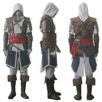 assassins creed cosplay schwarz großhandel-Assassin's Creed IV 4 Schwarze Flagge Edward Kenway Cosplay Kostüm Gesamter Satz Nach Maß Express-Versand