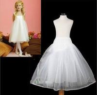 Wholesale Hoop Skirt Kids - 2015 Hot Sale Three Circle Hoop White Girls' Petticoats Ball Gown Children Kid Dress Slip Flower Girl Skirt Petticoat Free Shipping