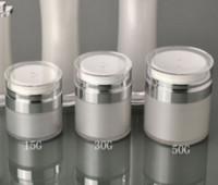 Wholesale wholesale airless jars - 15 30 50G Pearl White Acrylic Airless Jar Round Vacuum Cream Jar 15 30 50 ML Cosmetic Packing Pump Bottles