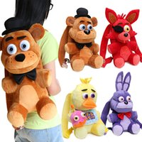 Wholesale plush bear backpack - 33cm Fnaf Freddy Fazbear Foxy Plush Backpack Bonnie Chica Golden Bear Five Nights At Freddy &#039 ;S Stuffed Cosplay School Bag Peluche