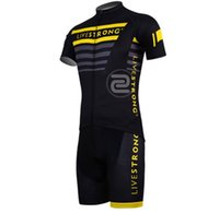 Wholesale Cycling Jersey Suit Short Sleeve - Wholesale-NEW Men short Sleeve Cycling Jersey LIVESTRONG Short Sleeve Sportswear Cycling Clothing Suit Summer Bicycle Clothing Set