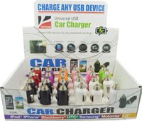 Wholesale Mini Car Charger Usb Box - mini usb car charger 1000mA with display box & colorful 24pcs in a box charge for any smart phone mp3 mp4