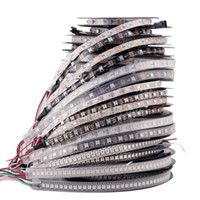rgb led ws2812b al por mayor-DC5V individualmente direccionable ws2812b tira de luz blanca / negra PCB 30/60/144 píxeles, cinta de cinta inteligente RGB 2812 a prueba de agua IP67 / IP20