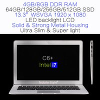 DHL-in-Stock 13.3inch IPS Intel Mobile i7 Quadcore 8 Go Ram 512GB SSD Laptop rétro-éclairage LED LCD Win7 / Win8 Notebook ultra léger en alliage (C6 + i7)