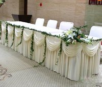 masa örtüleri toptan satış-Moda beyaz Buz Ipek Katı Masa Etek Düğün Masa Süpürgelik 20ft uzunluk HıZLı GEMI