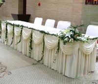 mariage de soie glacée achat en gros de-Mode blanc glace soie solide table jupe table de mariage plinthe longueur 20ft navire rapide