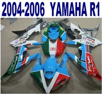 Wholesale green r1 fairings - Injection molding free shipping ABS fairing kit for YAMAHA 2004-2006 YZF R1 yzf-r1 04 05 06 blue green black fairings set YQ6