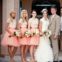 Wholesale Orange Tulle Dress Bust - Amazing Bridesmaids Tutu Dresses Cheap High Quality Coral Tulle Puffy Bust Skirts Wedding Party Bridesmaid Gowns