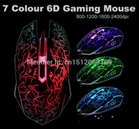 Wholesale Lava Lamps Free Shipping - Wholesale-2015 Optical Mouse free Shipping! 7-color Circular Breathing Crack 2400dpi Lava Lamp 6d Gaming 4-speed Adjustable Mouse