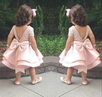 Wholesale Girls Black Top Bow - Lovely Puffy Pink Flower Girls Dresses For Wedding Satin Ruched Jewel Neckline2015 New First Communion Kids Gowns Bow Top Quality Short Mini