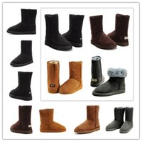 Wholesale Cheap Brown High Heels - Wholesale 2018 man woman Australia Classic snow Boots High Quality WGG boots cheap winter boots fashion shoes Brown Khaki Black Grey